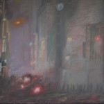 "42nd Street on a Misty October Evening (36"" x 48"") oil on canvas"